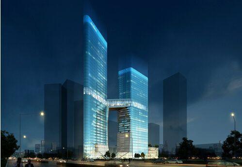 国内首座全钢结构双子塔建筑迈科商业中心结构封顶_省